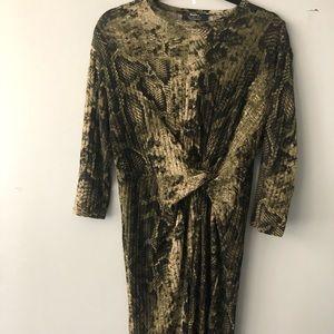 BERSHKA Bodycon Reptile Tie Front Dress